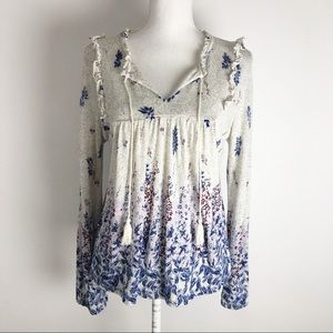 Lucky Brand Blouse Peasant Floral Soft Ruffle